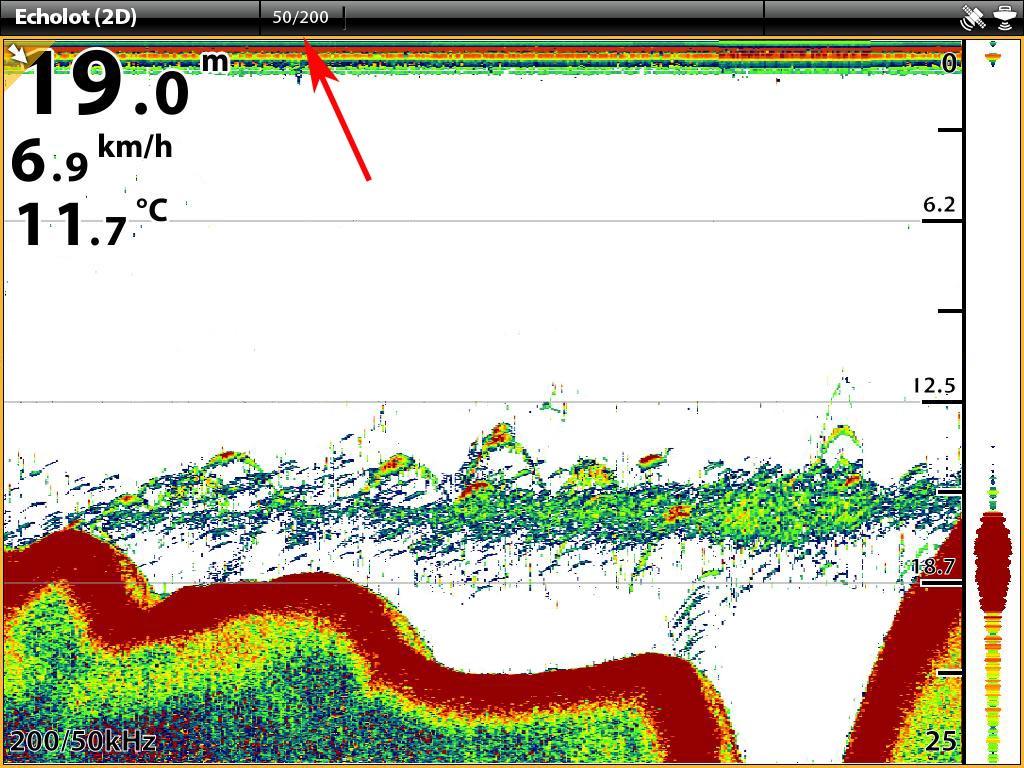 Roter Pfeil: Am Echolot wurden 50/200khz Dual Beam eingestellt. Das Bild ist also eine Überlagerung des 50khz und des 200khz Bildes. Zu sehen ist eine Sprungschicht in bzw. über der einzelne Fischsicheln zu erkennen sind.