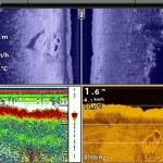 Side Imaging und Down Imaging Echolotbild mit Booten
