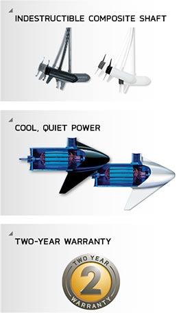 Vorteile bei Minn Kota wie 2 Jahre Garantie oder Cool Quiet Power