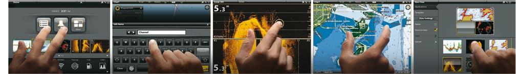 Humminbird Multi Gestensteuerung auf dem Touchscreen