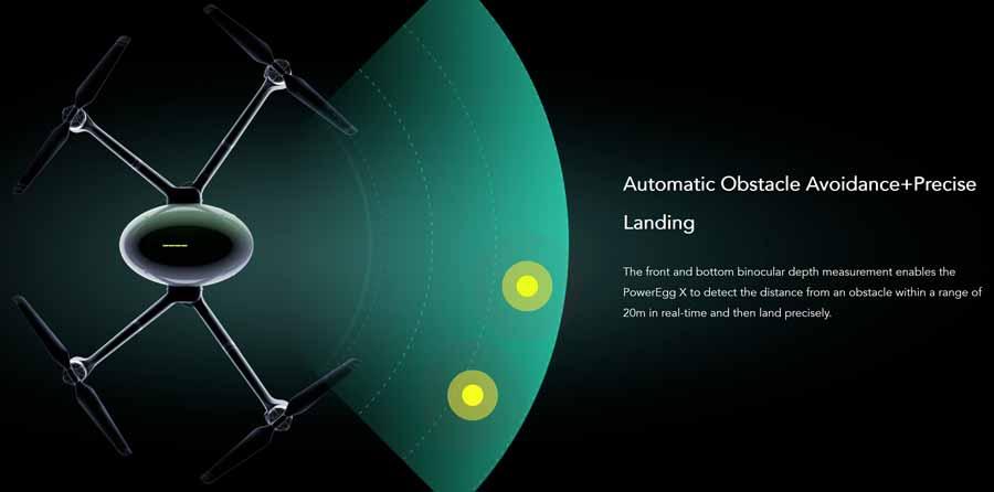 Die PowerVision Poweregg X Wizard KI Drohne weicht Hinternissen automatisch aus und positioniert sich selbstständig für Landungen