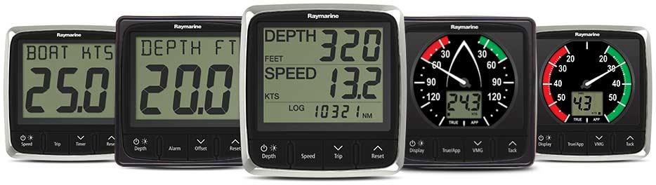 Raymarine i60 Windinstrumente lassen sich perfekt mit den i50 Marine Instrumenten und Anzeige Displays von Raymarine kombinieren.