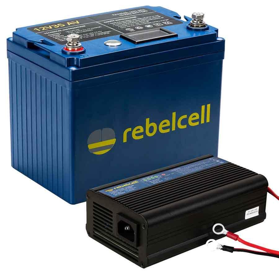 Rebelcell 12V35 AV Lithium-Ionen-Akku mit Ladegerät