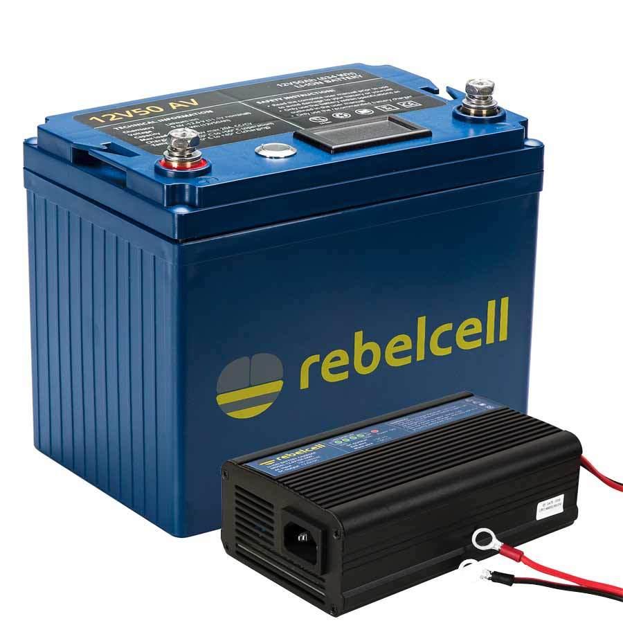Rebelcell 12V50 AV Li-Ion-Akku Set mit Ladegerät