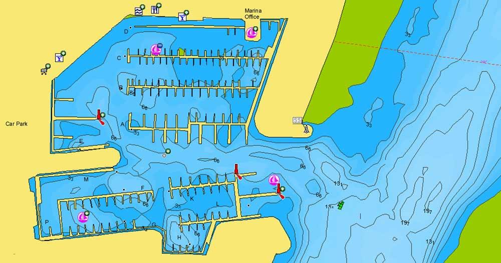 Digitale Seekarten liefern extreme Details selbst von Häfen und Marinas direkt auf deinen Kartenplotter.