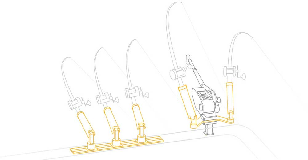 Montage und Installation von Rutenhaltern auf Angelboote. Hier siehst du verschiedene Möglichkeiten.