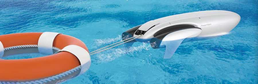 Wasserdrohnen sind moderne Lifeguards und können Rettungsmittel viel schnell zu Hilfebedürftigen bringen als jeder Rettungsschwimmer.