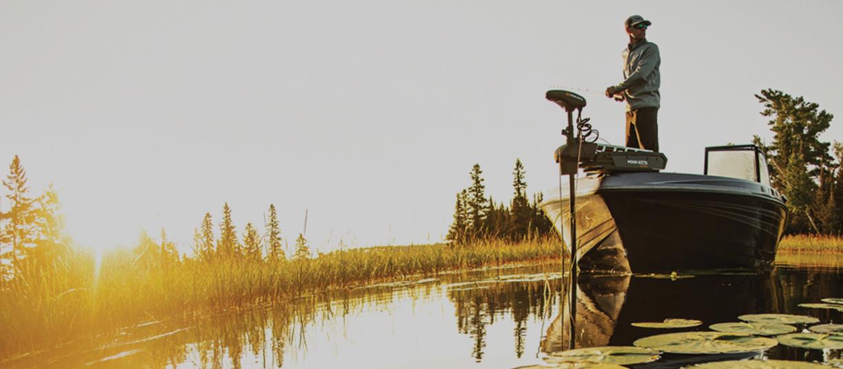 Minn Kota Bugmotor Ultrex auf einem Angelboot