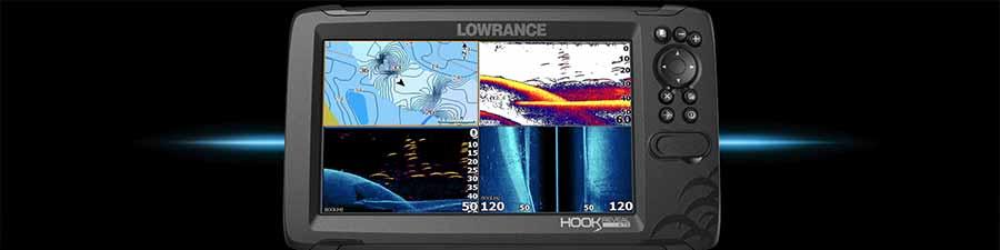 Geteilter Bildschirm bei einem Lowrance Hook Reveal mit TripleShot Geber.