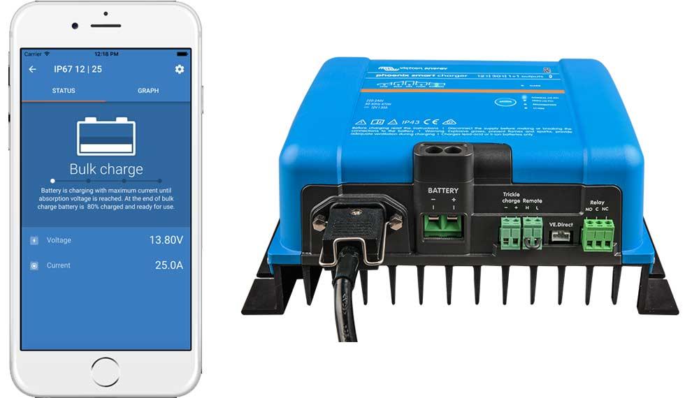 Victron Energy Phoenix Smart IP43 Ladegeräte kannst du smart per Bluetooth und VictronConnect App überwachen