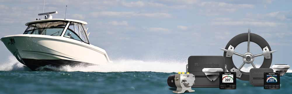 Raymarine Cockpit-Autopiloten sind für Boote, die über eine Pinne oder ein Steuerrad bedient werden.