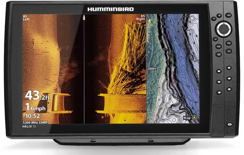 Auf einem geteilten Echolot Bildschirm erkennt man nur mit großen Displays wie dem Helix 15 auch alle Details