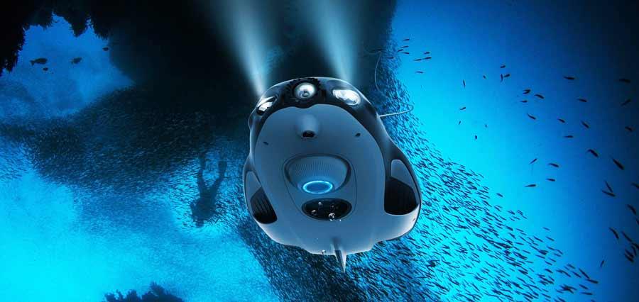Lerne alles über Unterwasserdrohnen, ROV und ROUV (Remote Operated Vehicles).