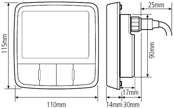 Technische Daten und Abmessungen der Raymarine i60 Windinstrumente